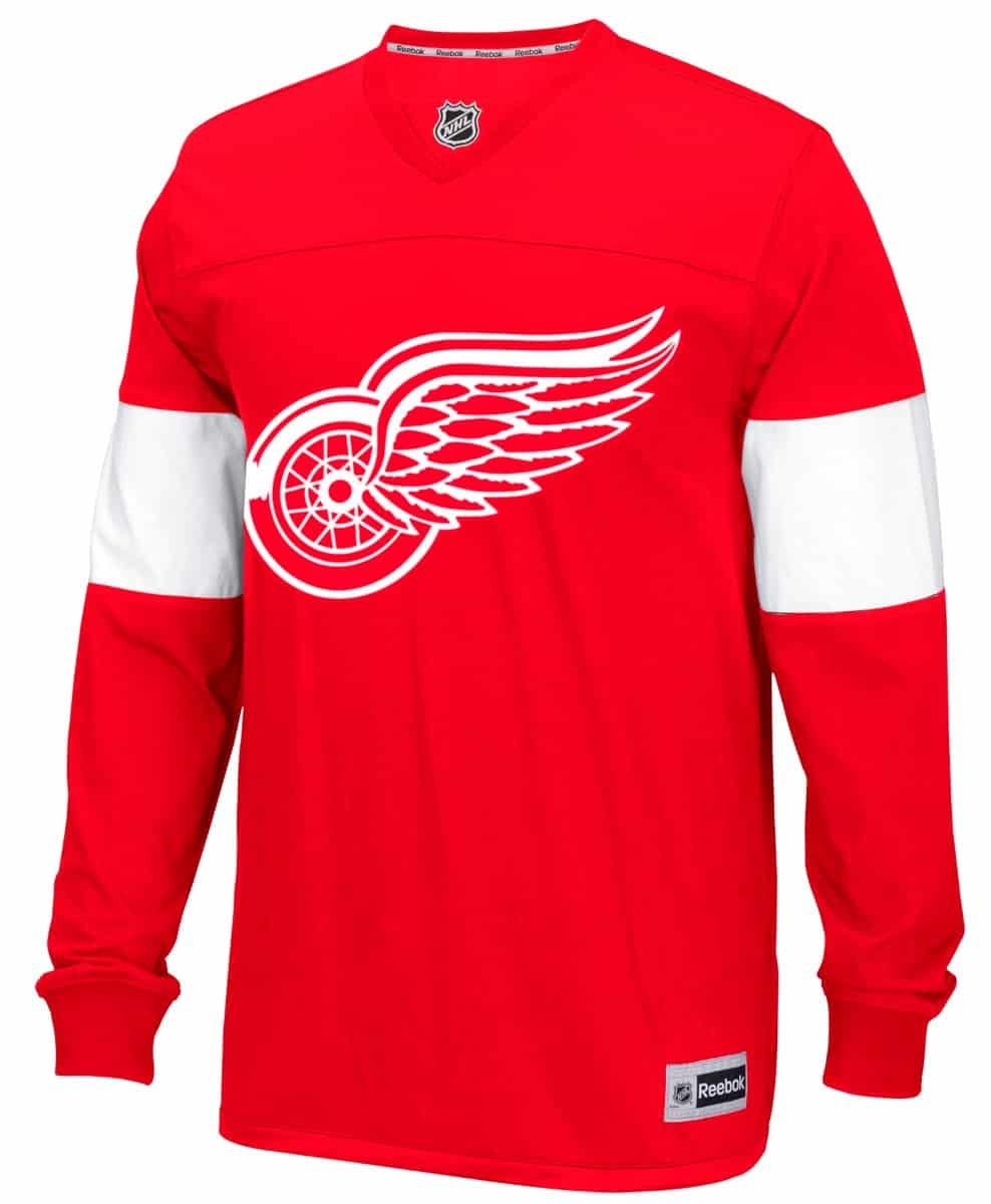 Detroit Red Wings Reebok Long Sleeve Jersey Shirt