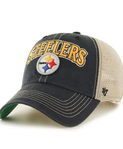 Pittsburgh Steelers Tuscaloosa Clean Up Vintage Black 47 Brand Adjustable Hat