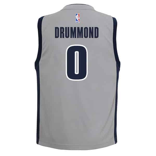 Andre Drummond Detroit Pistons YOUTH Adidas Gray Replica Jersey Back