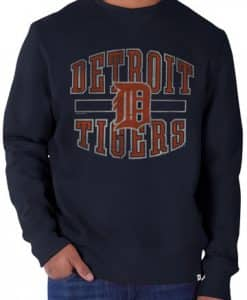 Detroit Tigers 47 Brand Navy Cross Check Crew Long Sleeve Shirt