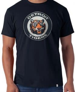 Detroit Tigers 47 Brand Vintage Classic Logo Mens Navy Knockout T-Shirt