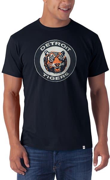 Detroit Tigers 47 Brand Vintage Classic Logo Mens Navy Knockout T-Shirt