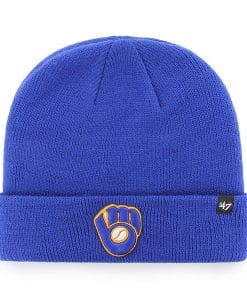 Milwaukee Brewers 47 Brand Blue Raised Cuff Knit Beanie Hat