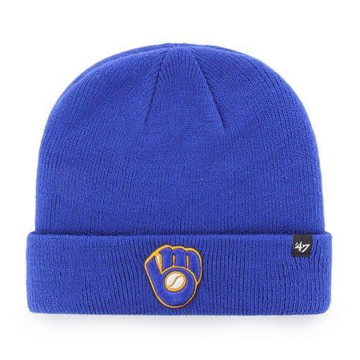 Milwaukee Brewers 47 Brand Blue Raised Cuff Knit Beanie Hat