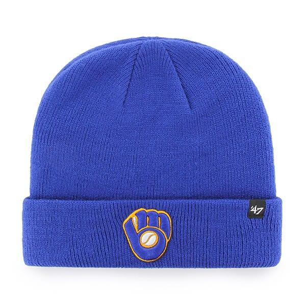 5f8df55fa90 Milwaukee Brewers 47 Brand Blue Raised Cuff Knit Beanie Hat - Detroit Game  Gear