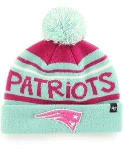 New England Patriots KIDS Girls 47 Brand Tiffany Blue Pink Cuff Knit Hat