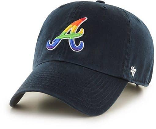 Atlanta Braves Pride Clean Up Navy 47 Brand Adjustable Hat