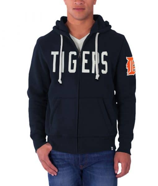 Detroit Tigers 47 Brand Mens Cross Check Full Zip Hoodie