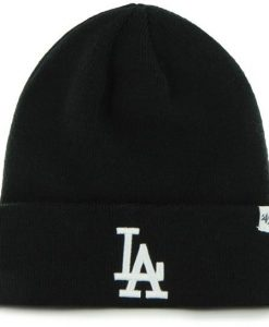 Los Angeles Dodgers Raised Cuff Knit Black 47 Brand Beanie Hat