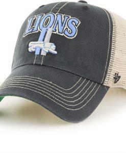 Detroit Lions Tuscaloosa Clean Up Vintage Black Classic 47 Brand Adjustable Hat