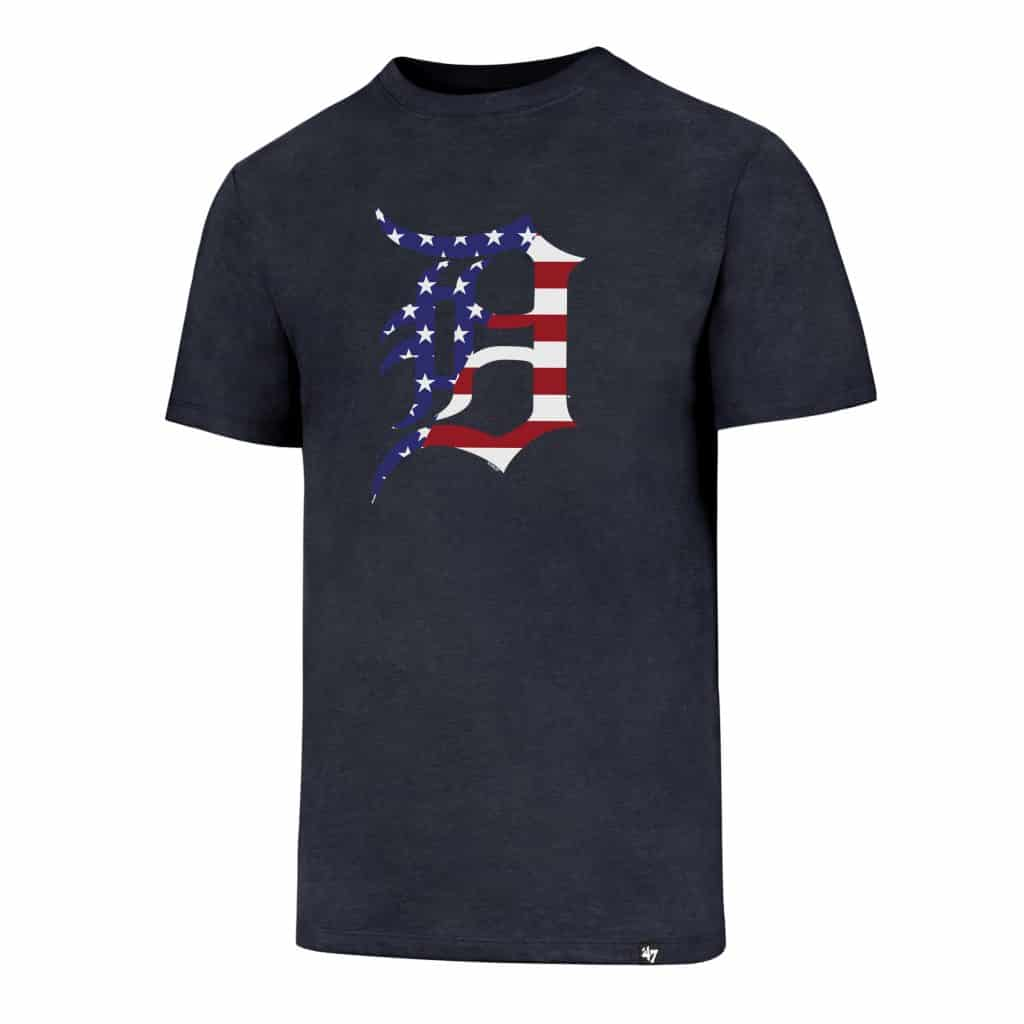 Detroit Tigers 47 Brand Men's Navy Stars & Stripes T-Shirt