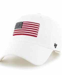 Operation Hat Trick Clean Up W/ Side Embroidery White 47 Brand Adjustable USA Flag Hat
