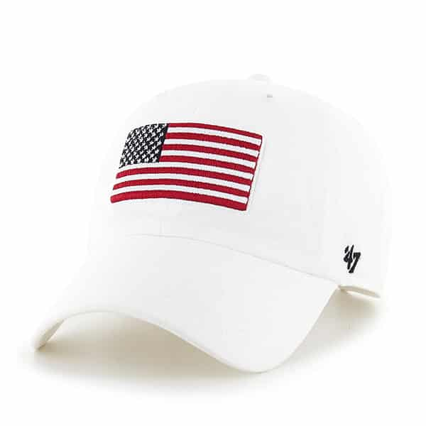 9c08afdd93cd8 Operation Hat Trick Clean Up W  Side Embroidery White 47 Brand Adjustable  USA Flag Hat - Detroit Game Gear