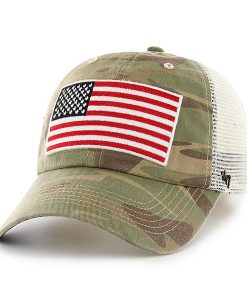 Operation Hat Trick Faded Camo 47 Brand Adjustable USA Flag Hat