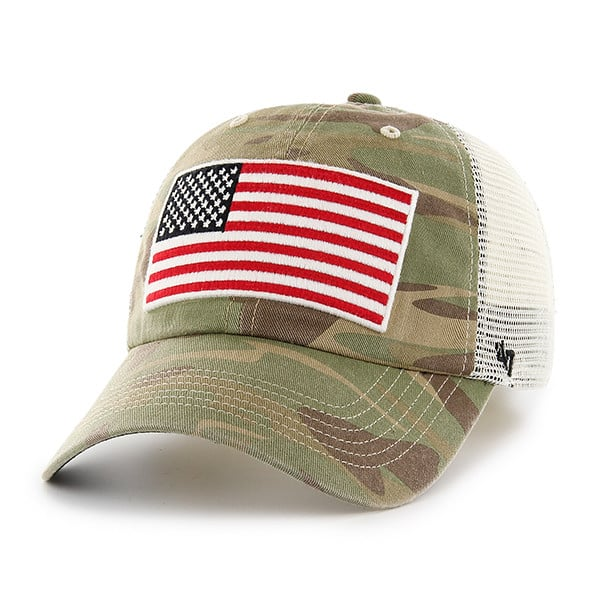 cheaper 8cf7c 0c0b2 Operation Hat Trick Faded Camo 47 Brand Adjustable USA Flag Hat - Detroit  Game Gear