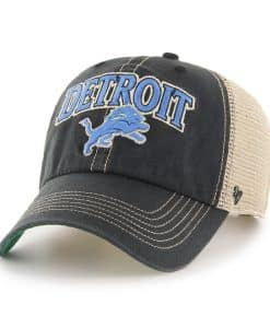 Detroit Lions Tuscaloosa Clean Up Vintage Black 47 Brand Adjustable Hat