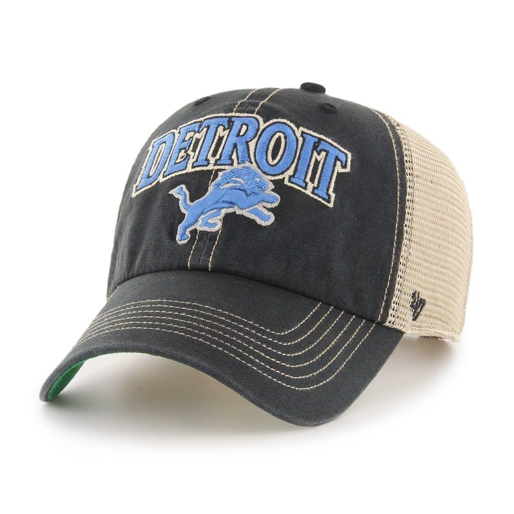 Detroit Lions Tuscaloosa Clean Up Vintage Black 47 Brand Adjustable Hat