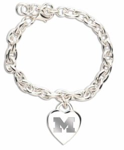 Michigan Wolverines Heart Charm Bracelet