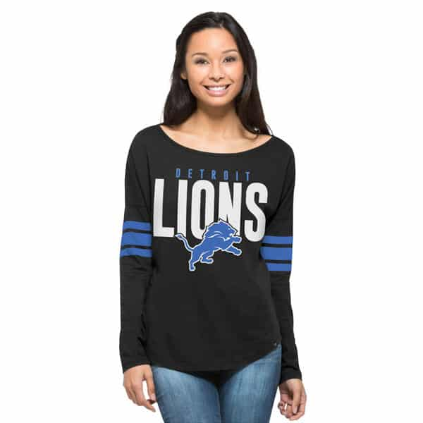Detroit Lions 47 Brand Women's Jet Black Long Sleeve T-Shirt