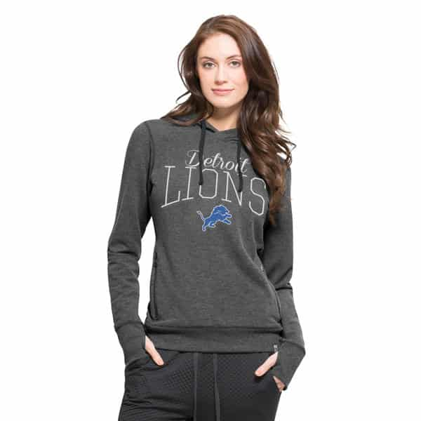 Detroit Lions 47 Brand Women's Stride Grey Hoodie