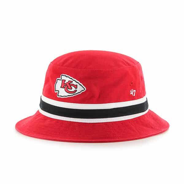 2efd7d1b9 Kansas City Chiefs 47 Brand L/XL Striped Red Bucket Hat
