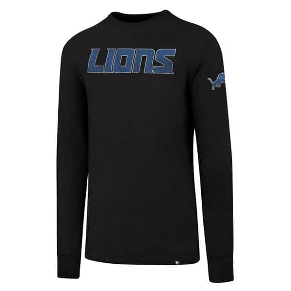 Detroit Lions Men's 47 Brand Jet Black Long Sleeve Scrum T-Shirt