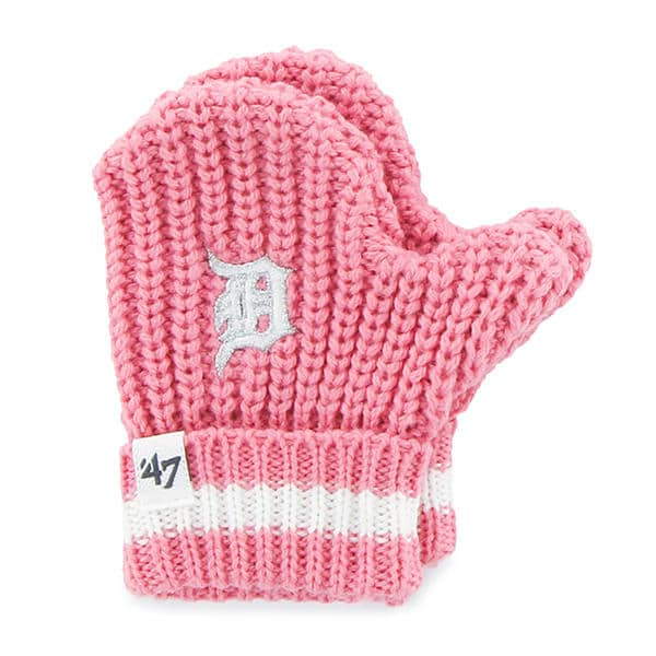 Detroit Tigers 47 Brand INFANT Pink Knit Mittens
