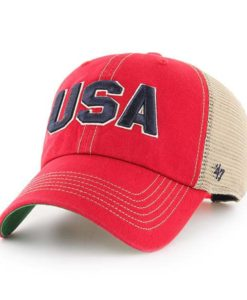 Operation Hat Trick Clean Up Trawler Red 47 Brand Adjustable USA Flag Hat