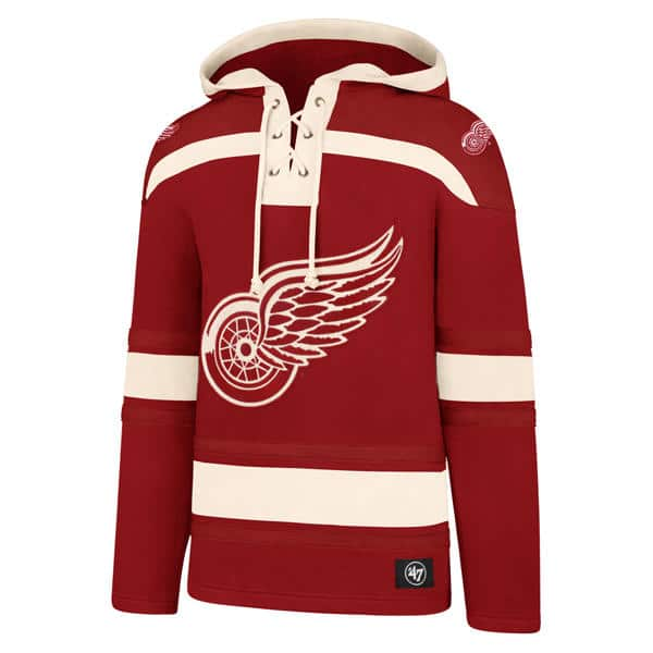 4a1fc562f Detroit Red Wings Men s 47 Brand Red Pullover Jersey Hoodie ...