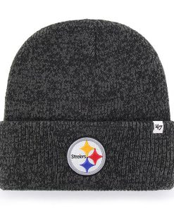 Pittsburgh Steelers 47 Brand Brain Freeze Black Gray Cuff Knit Hat
