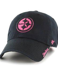Pittsburgh Steelers Women's Skyler Clean Up Pink Black 47 Brand Hat