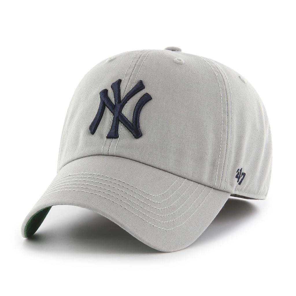 New York Yankees 47 Brand Franchise Gray Navy Logo Fitted Hat