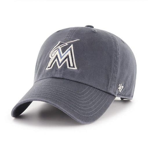 Miami Marlins 47 Brand Vintage Navy Clean Up Adjustable Hat