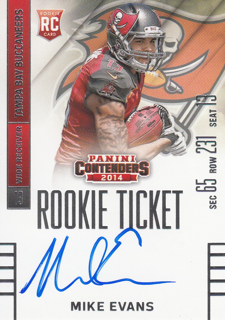 2014 Panini Contenders MIKE EVANS ROOKIE TICKET AUTO RC No.236