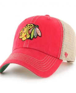 Chicago Blackhawks 47 Brand Trawler Red Clean Up Adjustable Hat