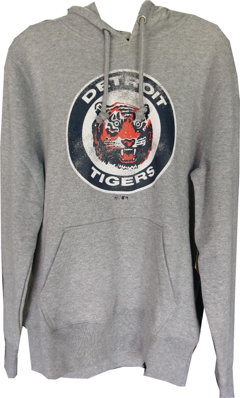382587e59 Detroit Tigers Men s 47 Brand Grey Vintage Hoodie - Detroit Game Gear