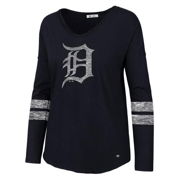 Detroit Tigers Women's 47 Brand Faded Navy Long Sleeve Tee T-Shirt