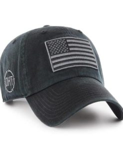 Operation Hat Trick Clean Up Black 47 Brand Adjustable USA Flag Hat