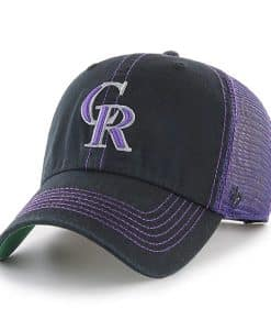 Colorado Rockies 47 Brand Trawler Black Purple Clean Up Adjustable Hat