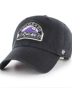 Colorado Rockies 47 Brand Clean Up Black Adjustable Hat