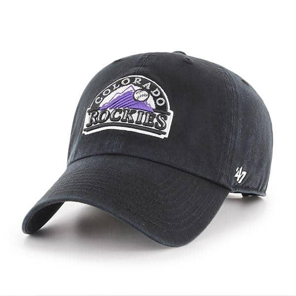 Colorado Rockies 47 Brand Clean Up Black Adjustable Hat