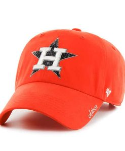 Houston Astros Women's 47 Brand Orange Sparkle Clean Up Adjustable Hat