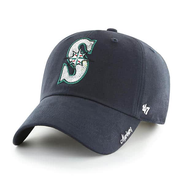 Seattle Mariners Women's 47 Brand Navy Sparkle Clean Up Adjustable Hat