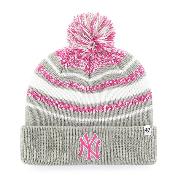 bae2ef38d32 New York Yankees Girls KIDS 47 Brand Gray Pink Bubbler Cuff Knit Hat -  Detroit Game Gear