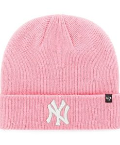 New York Yankees Women's 47 Brand Pink Raised Cuff Knit Hat
