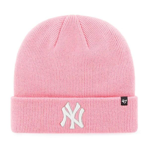 New York Yankees Women's 47 Brand Pink Raised Cuff Knit Hat