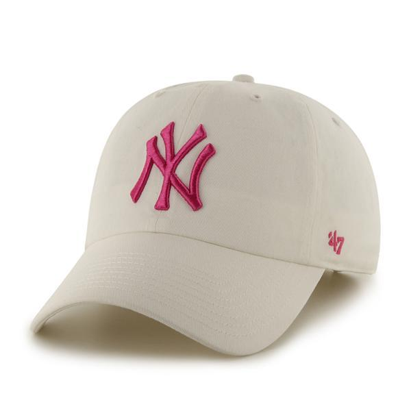 New York Yankees Women's 47 Brand White Pink Clean Up Adjustable Hat