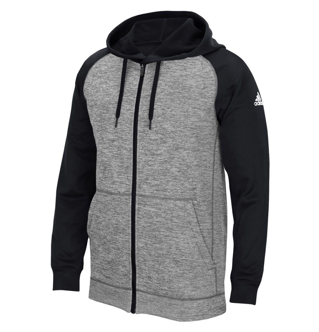 Men's Adidas Gray Heathered Black Tech Fleece Full Zip Hoodie