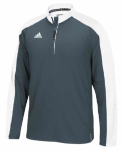 Men's Adidas Gray White Climalite Varsity 1/4 Zip Pullover