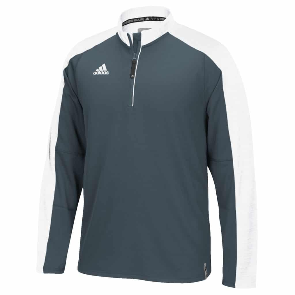 Men's Adidas Gray White Climalite Varsity 1/4 Zip Pullover